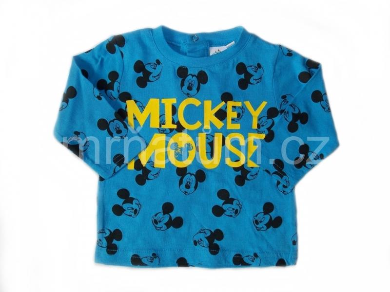 Disney kojenecké triko s dlouhým rukávem s motivem Mickey Mouse Věk 3-6 (62-68), Barva Modrá