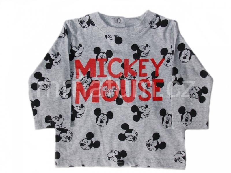 Disney kojenecké triko s dlouhým rukávem s motivem Mickey Mouse Věk 3-6 (62-68), Barva Šedá