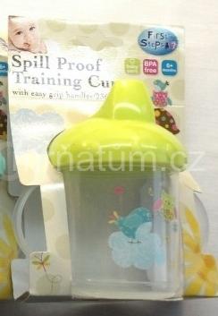 First Steps Nádobka s dvěma uchy pro kojence a batolata Barva a motiv Zelené víčko, ptáčci