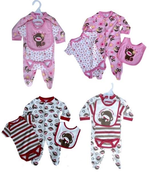Novorozenecká 3 dílná sada s opičkami 7094eae72c