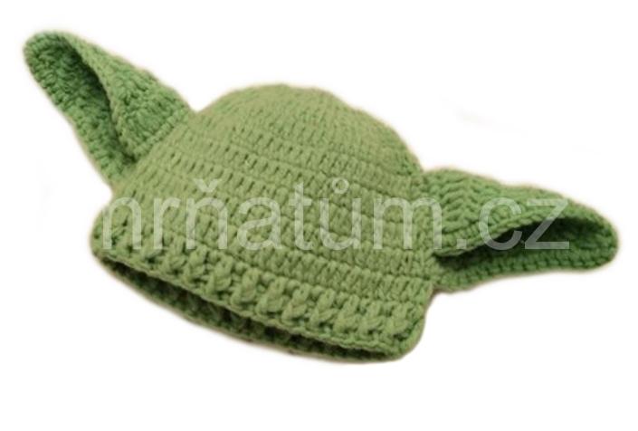 Pletená čepička pro novorozence Mistr Yoda