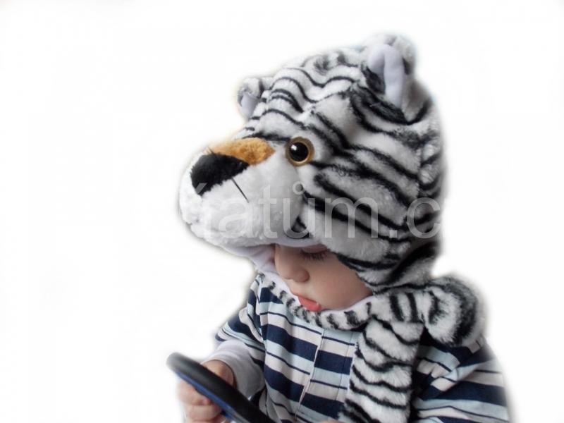 Kojenecká čepička se zvířecím motivem Motiv Bílý tygr