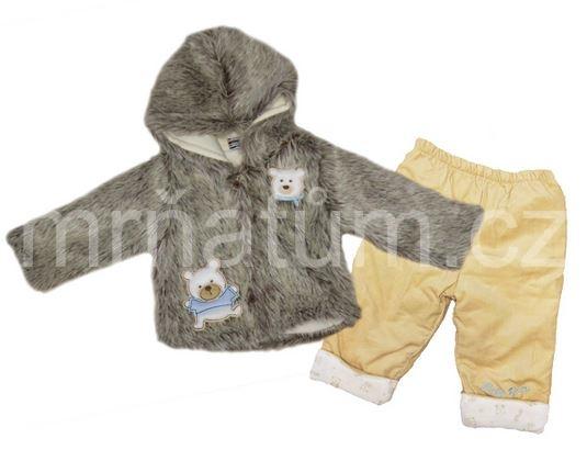 Kojenecký zimní kabátek s kapucí a kalhotami Věk 3-6 (62-68)
