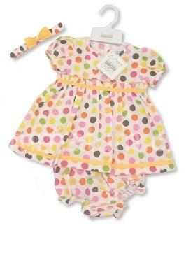 Nursery Time Kojenecké šatičky s kalhotkami a čelenkou Barva Žluté doplňky, Věk 0-3