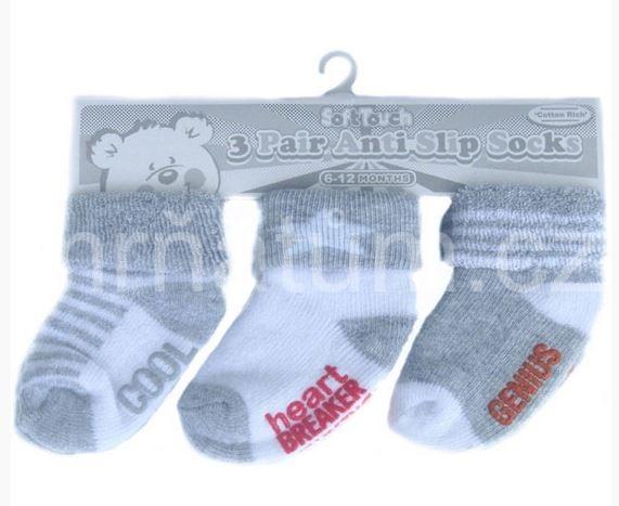 Kojenecké ponožky s protiskluzovou vrstvou - sada 3 párů ecb4cdbbd7