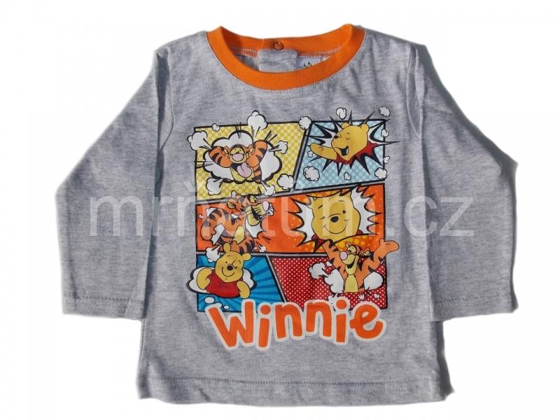 Disney kojenecké triko s dlouhým rukávem s motivem Medvídek Pú Věk 3-6 (62-68), Barva Šedá