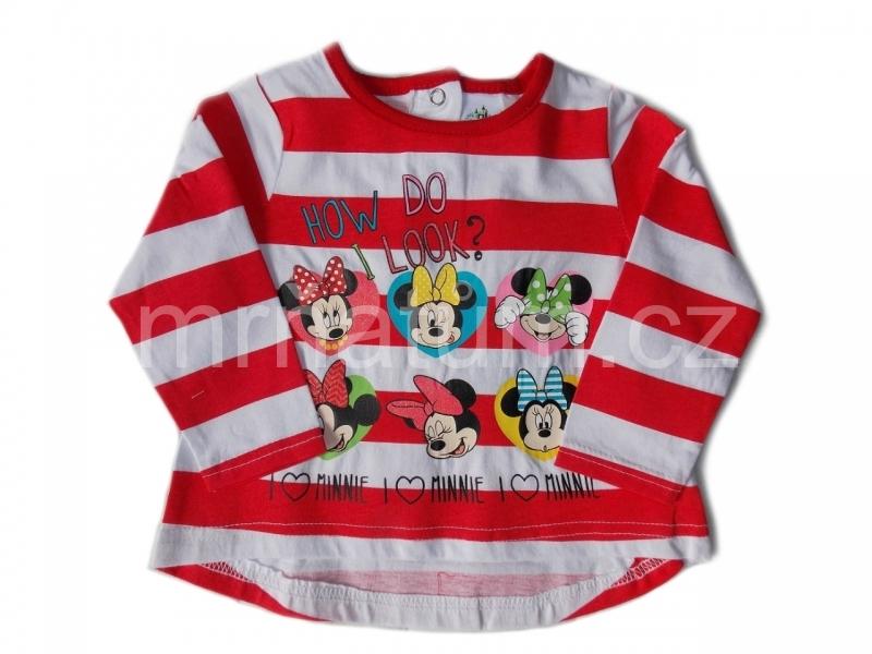 Disney Baby Kojenecké pruhované triko s dlouhým rukávem s motivem Minnie Mouse Věk 3-6 (62-68), Barevná kombinace Bílá s červeným potiskem