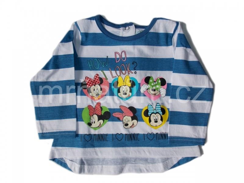 Disney Baby Kojenecké pruhované triko s dlouhým rukávem s motivem Minnie Mouse Věk 6-12 (68-80), Barevná kombinace Bílá s modrým potiskem